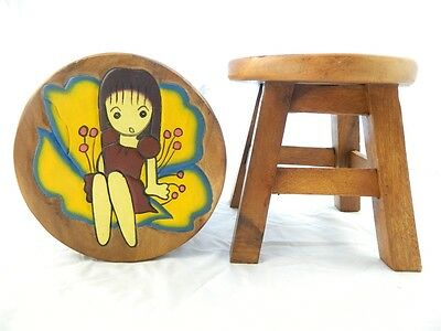 Childs Childrens Wooden Stool - Flower Fairy Step Stool