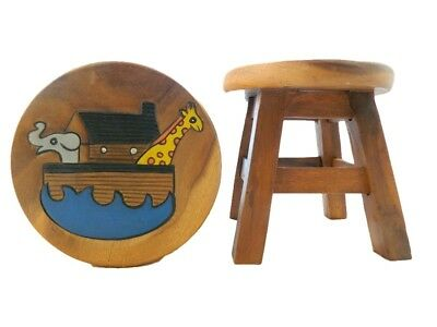 Childs Childrens Wooden Stool - Noah's Ark Step Stool