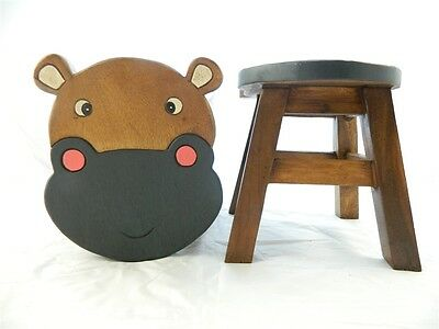 Childs Childrens Wooden Stool - Hippo Hippopotamus Shaped Step Stool