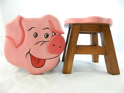 Childs Childrens Wooden Stool - Pig Piglet Shaped Step Stool