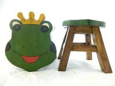 Childs Childrens Wooden Stool - Frog Prince Shaped Step Stool