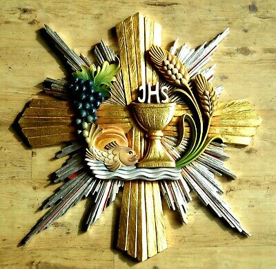 Eucharistie-Relief, Messkelch, Eucharistic symbol, Chalice woodcarving