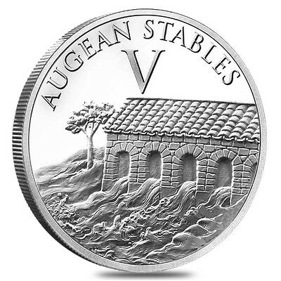The 12 Labors Of Hercules Augean Stables 1 oz .999 Silver BU Round USA Made Coin