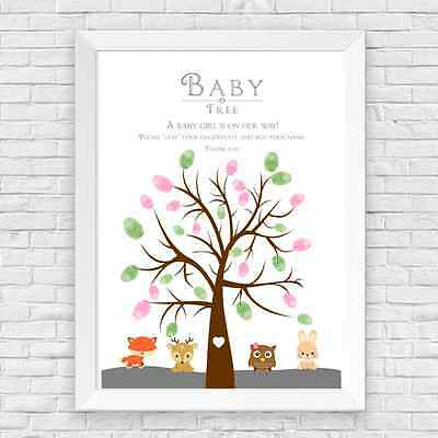 Baby Shower Baby Girl Woodland Creatures Finger Print Tree, Game, Predictions