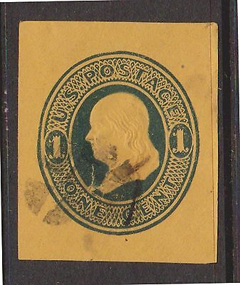 (ZB-72) 1860 USA 1c green Franklin cut out