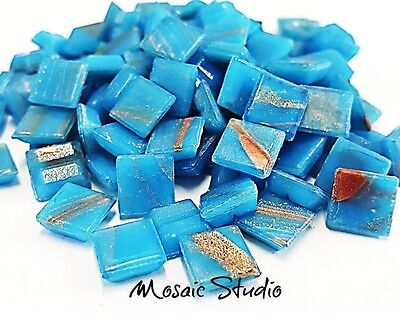 Gold Thread Tiles - 10x10mm  - Azure Blue  x 100pc
