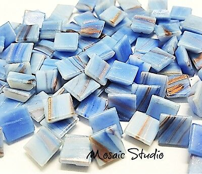 Gold Thread Tiles - 10x10mm  - Blue  x 100pc