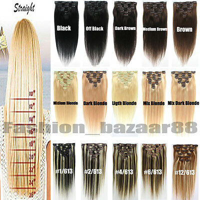 Full Head Women Clip in 100% Real Soft Human Hair Extensions 15-22inch Straight