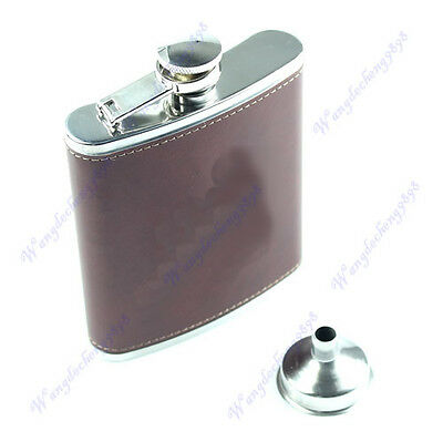 7oz Hip Flask Synthetic Leather Stainless Steel Liquor Alcohol Drink + Funnel