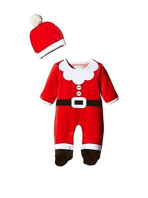 Cute Baby Father Christmas Santa Outfit Sleepsuit Babygrow With Hat Bnwt