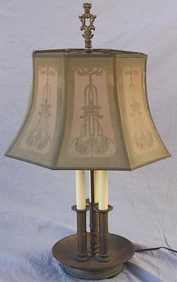1920s Elegant Spanish Revival Table Lamp Mesh Shade Classic Motif Brass (6825)
