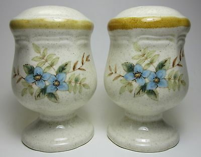 Vintage Mikasa Japan Small Dainty Salt & Pepper Shaker Set Blue Flowers Floral
