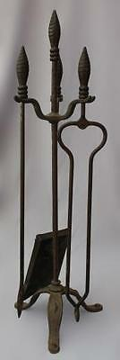 1920s Fireplace Tools Set Unique Hammered Base Iron Home Hearth Antique (6762)