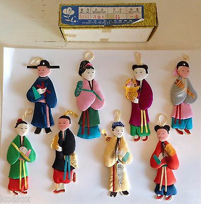 Vintage Chinese Paper Cloth Doll Ornaments People's Republic of China Set of 8