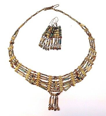 Most Beautiful! Antique Egyptian Mummy Bead Necklace Earring Set Museum Quality • CAD $566.25