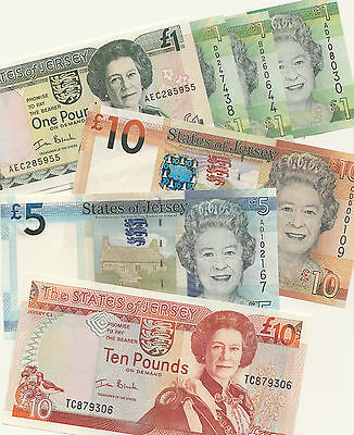 Jersey Banknote D series £1 & £5 to £50 Jersey Banknotes UNC