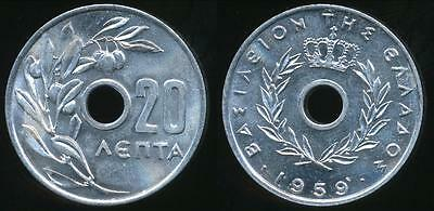 Greece, Kingdom, 1959 20 Lepta - Choice Uncirculated