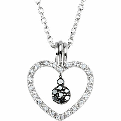 """Black & White Diamond Heart 18"""" Necklace In Sterling Silver (1/6 ct. tw.)"""
