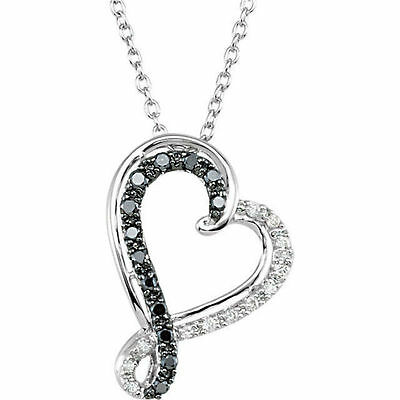 """Black & White Diamond Heart 18"""" Necklace In Sterling Silver (1/5 ct. tw.)"""