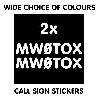 2x CALL SIGN DECALS STICKERS FOR YOUR CAR SHACK WALL HAM AMATEUR RADIO