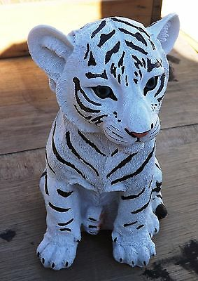 new 10 1/2 inch resin white tiger cub figurine called rumba