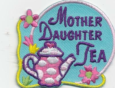 Girl MOTHER DAUGHTER TEA PARTY Blue Pot Fun Patches Crests Badges SCOUT GUIDE