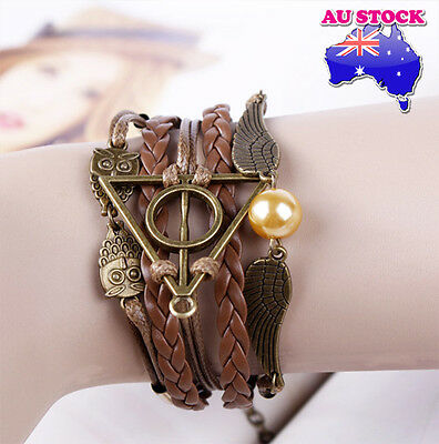 Harry Potter Deathly Hallows Golden Snitch and Owl Angel Wing Leather Bracelet