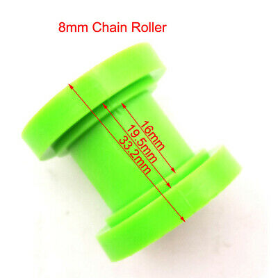 8mm Green Pulley Tensioner Chain Roller Guide Pit Dirt Moto Trail Bike Motocross