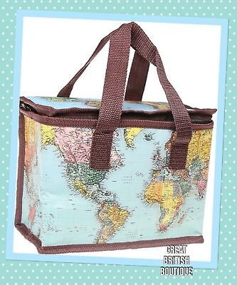 Retro Style Vintage World Map Insulated Lunch Cool Bag - Perfect Anytime!