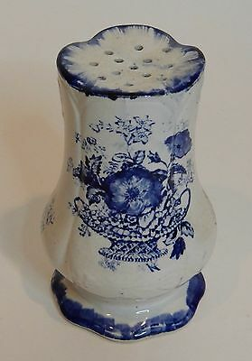 Early Transferware Cobalt Blue White Muffineer Ornate Details Great Condition  B