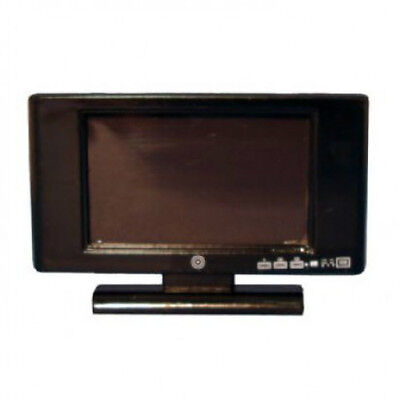 Dolls House Miniature : Black model flat screen TV  :  12th scale Television