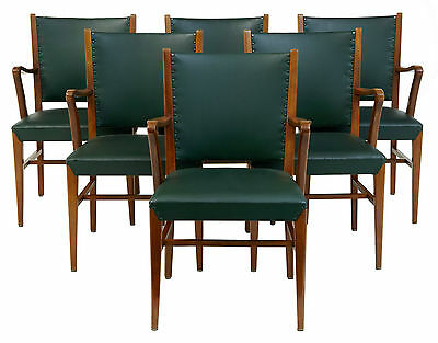 Set Of 6 20Th Century Design Teak And Leather Armchairs