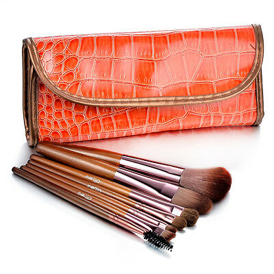 Glow 7 Professional Makeup Brushes Set in Brown Crocodile Leather Design Case