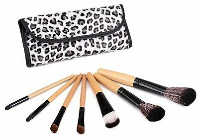 Glow 7 Professional Makeup Brushes Set in Leopard Print Case