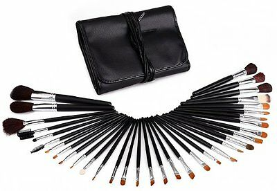 Glow 34 Piece Professional Makeup Brushes in Black leather case