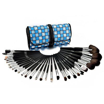 Glow 30 Piece Professional Makeup Brushes Set in Blue Checkered Case