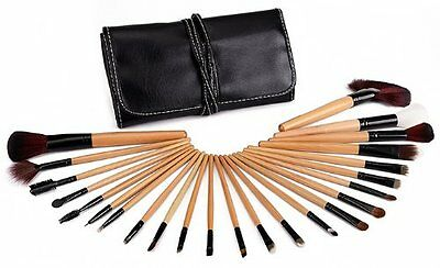 Glow 24 Piece Wooden Handle Professional Make up Brushes Set in Black Case