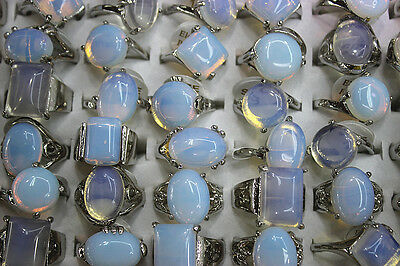 Wholesale Mix Lots 25pcs Big various nature Opal stone Silver p Lady Top Rings