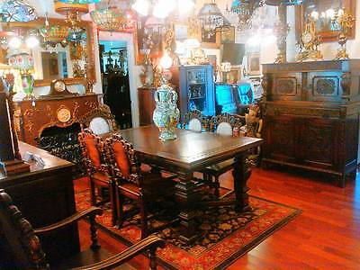 9 Piece Jacobean Style Carved Oak Dining Room Set