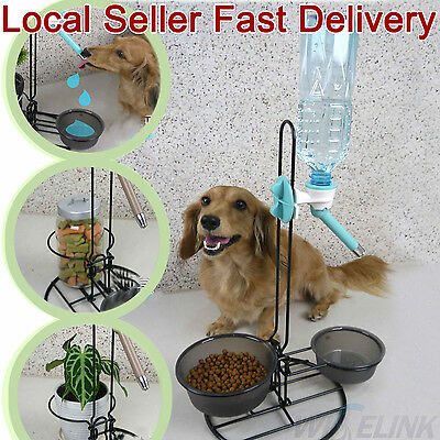 Pet Dog Cat Food Feeder & Water Bottle Bowl Catnip Set 3 in 1 Adjustable Metal