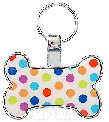 Polka Dot - Dog Bone Pet Name Tag Id Disc - Free Engraving