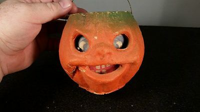 Small, Antique, Halloween, Paper Mache, Jack-O-Lantern With Bail Handle