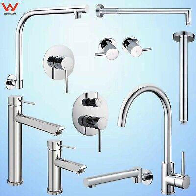 Brass Round Kitchen Laundry Basin Mixer Valve Sink Tap Wall Spout Shower Arm