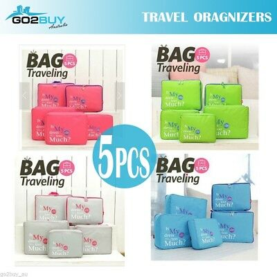 5PCS Travel Luggage Organizer Set Backpack Storage Pouches Suitcase Packing Bags