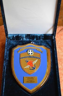 Greek Ministry Of National Defense Luxurious Enamel Engraved Wall Plaque Awarded