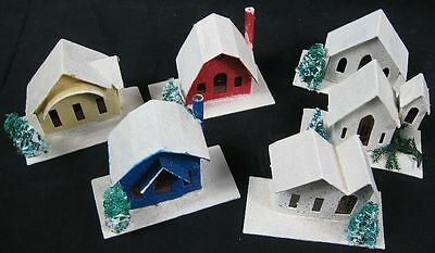 Vintage 1950's Japan House Village Cardboard Set of 6