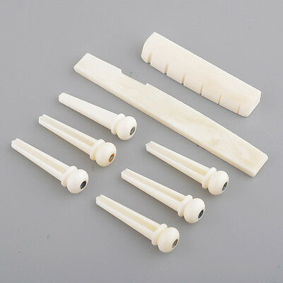 Set Of Buffalo Bone Bridge Pins Nut Pegs Part For 6 String Acoustic Guitar