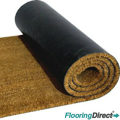 Coir Doormat Heavy Duty Plain Natural 17mm 1m / 2m Wide Any Size Mat