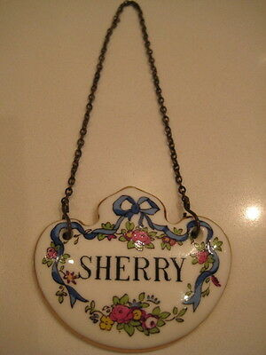 Vintage Crown Staffordshire Bone China Porcelain Decanter Label Name Tag Sherry