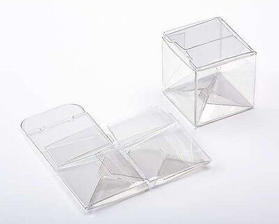 25 Clear Plastic Mini CUBE Boxes; 1 1/2 x 1 1/2 x 1 1/2 Inches Retail and Gifts